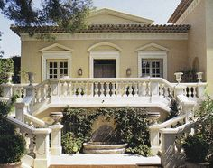 Axel Vervoordt advised on the architecture of this golden washed Palladian-style villa on Saint-Jean-Cap-Ferrat.