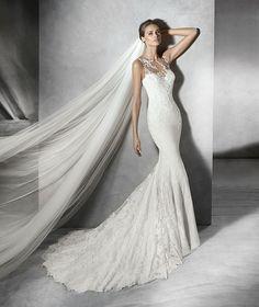 Pronovias 2016 | Vestido de noiva - Modelo Prunelle em georgette com aplicações de bordado com fio, renda e fantasia bordada de pedraria