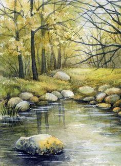 ACEO Original Miniature Watercolor Painting Summe  Part # 1 by Elena Mezhibovsky