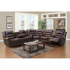 this gilbert brown bonded leather sectional sofa set includes a sofa with dropdown table a loveseat with a center console and a wedge - Sectional Leather Sofas
