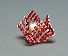 "Glass Candleholder: Red Stripe by Ed Edwards (Art Glass Candleholder) (3.5"" x 3.5"")"