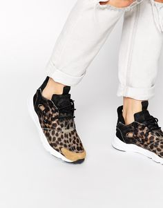 Image 1 of Reebok Fury Lite Black Animal Print Trainers