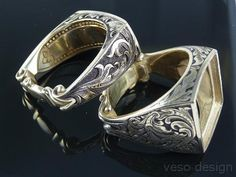 Hand Engraved parts of this (2 of 4 engraving and basic shape of ring - would want interior engraved)