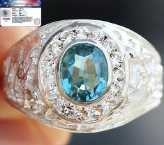 3.25 cts HIGH QUALITY GENUINE BLUE ZIRCON & TOPAZ RING 925SS SIZE#9.5 No Reserve #Handmade #SolitairewithAccents
