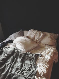 A messy bed is inviting. Unmade Bed, Messy Bed, Wanting To Be Alone, Roomspiration, Sweet Home, Relax, Room Decor, Panda, Luxury Bedding