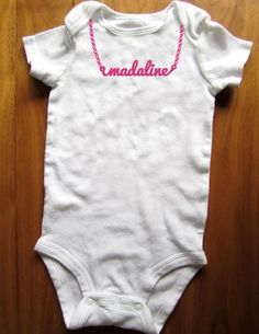 """cute personalized nameplate necklace bodysuit - sex and the city """"carrie"""" necklace baby tshirt on Etsy, $14.00"""