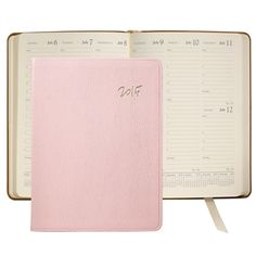 Blush French Goatskin Leather Graphic Image Desk Datebook Planner Agenda Larger Size
