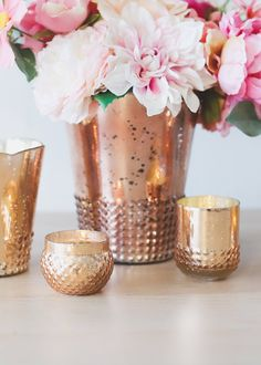 Create the DIY wedding of your dreams with affordable mercury glass rose gold votive holders from Afloral.com. #budgetwedding #diywedding #fallwedding #weddingdecor Rose Gold Candle Holder, Mercury Glass Candle Holders, Gold Wedding Decorations, Floral Supplies, Candles, Boho Wedding, Knot, Fill, Room Decor