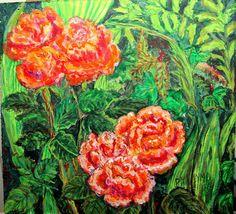 GALERIA PALOMO MARIA LUISA: ROSAS EN EL VERGEL.... Ethnic Recipes, Painting, Art, Painted Flowers, Roses, Art Background, Painting Art, Kunst, Paintings