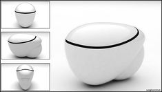 egg shaped design of the Cell Tankless Toilet