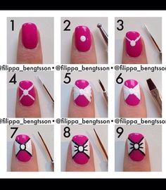 such a cute idea! A pink nail w a white bow