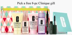 Pick your free 8-piece kit with any $50 purchase. Available on the Clinique US and CA websites. Cleanser, Moisturizer, Clinique Gift, Cosmetic Bag, Mousse, Lotion, Eyeshadow, Gifts, Free