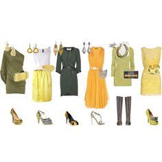 пример гардероба на основе желтого и зеленого