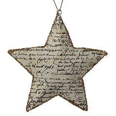 Buy John Lewis Glitter Antique Text Star Decoration, Gold Online at johnlewis.com