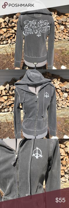 True Religion Zip Up Hoodie Rock this awesome hoodie! Gently used, photo shows only signs of wear! Love the uniqueness of the print and stitching! Always open to offers and bundle deals! Runs small. True Religion Tops Sweatshirts & Hoodies