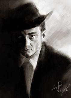 digital art, short portrait. Johnny Cash