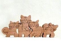 猫4匹(組木)