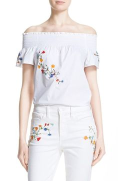 TORY BURCH 'Eliza' Embroidered Off The Shoulder Top. #toryburch #cloth #