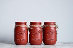 Fall Home Decor, Autumn Home, Holiday Decor, Red Mason Jars