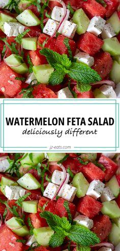 Best Salad Recipes, Summer Salad Recipes, Vegan Recipes, Party Recipes, Greek Recipes, Watermelon Feta Salad Recipes, Watermelon And Feta, Benefits Of Eating Watermelon, Grilled Chicken Pasta