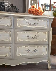 Painted Furniture : Gray and White French Dresser : Home Decor Bedroom, Shabby Chic Dresser, Furniture Makeover, Furniture Rehab, Home Furniture, Painted Furniture, Furniture Restoration, Redo Furniture, Refinishing Furniture