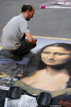 Il maestro madonnaro Johnny McGrogan all'opera in Via Calimala, Firenze (Toscana, Italy) - by Silvana, settembre 2014
