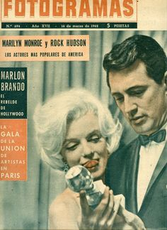 Marilyn Monroe and Rock Hudson on the cover of Fotogramas magazine, March 16, 1962, Spain. Cover photo of Marilyn and Rock Hudson at the Golden Globe Awards, March 5, 1962.