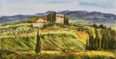 Val d'Elsa, Tuscany (Art d'Eco) by Maga Fabler Original acrylic painting on recycled cardboard