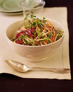 Crunchy Sprout and Daikon Salad with Mint | Whole Living-- omit honey from vinaigrette recipe.