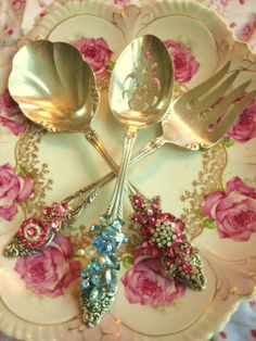Vintage jeweled serving fork and spoons and pretty plate!