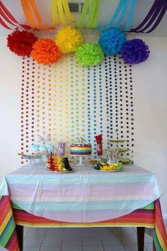 Rainbow party cake table love the backdrop Rainbow Parties, Rainbow Birthday Party, Rainbow Theme, First Birthday Parties, Rainbow Star, Birthday Table, My Little Pony Party, Unicorn Party, Unicorn Birthday