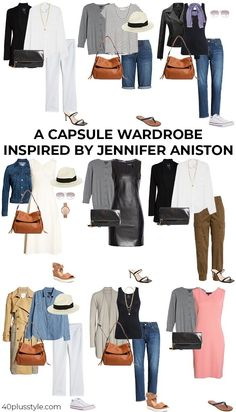 Capsule Wardrobe Casual, Capsule Outfits, Fashion Capsule, Work Wardrobe, Summer Wardrobe, Fashion Outfits, Womens Fashion, Stylish Outfits For Women Over 50, Jennifer Aniston Style