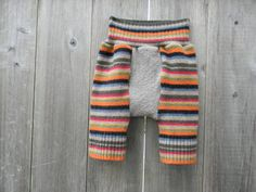 Upcycled Wool Shorties Soaker Cover Diaper Cover Multi Color Stripes MEDIUM 6-12M Kidsgogreen. $23.00, via Etsy.
