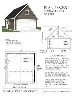 Compact 2 Car Garage Plan No. 380-2c By Behm Design 19' x 20' (second choice)