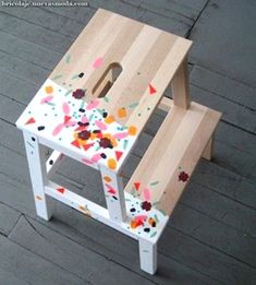 ikea BEKVAM stool painting by Fliffa. I have this stool from IKEA - so cheap and really heavy duty! Bekvam Ikea, Bekvam Stool, Ikea Hacks, Diy Hacks, Painted Furniture, Diy Furniture, Washi Tape Furniture, Modern Furniture, Futuristic Furniture