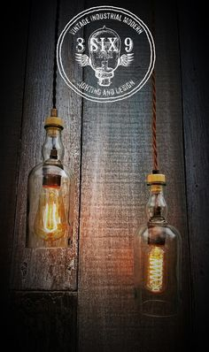 Want some upcycled whiskey bottle lighting with some class? Balvenie is the answer to that! These bottles are absolutely beautiful as a pendant light, made from all different aged whiskey bottles from 12 years to 25 years, these are sure to be a one of a kind conversation piece in your home! These bottles all give off a beautiful green hue, due to manufacturing process…in which they are high in copper content and minerals in the glass.