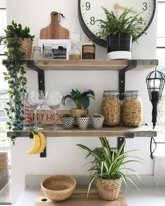 Mini Black Geo Planters - Set of 3 available to buy direct from Sass & Belle. Charming gifts and homeware, designed with love. Kitchen Shelf Decor, Kitchen Shelves, Kitchen Dining, Rustic Shelves, Wooden Shelves, Küchen Design, My New Room, Hygge, Decoration