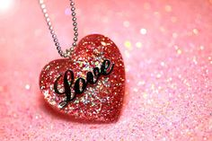Glitter Jewellery  necklace  big resin heart pendant by isewcute, $25.00