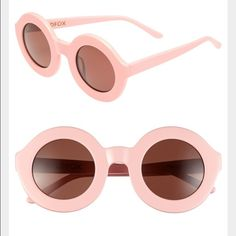 New! WILDFOX Women's Twiggy Round Plastic Sunglass - Gender: Women's - Style: Round - Size: 44-13-145mm (eye-bridge-temple) - Frame material: Acetate - Frame color: Pink, - Lens type: CR39 - Lens color: Pink (Brown Solid) - Protection: 100% UVA/UVB - Hinge type: 5 barrel comotec - Case included - Imported Wildfox Accessories Sunglasses