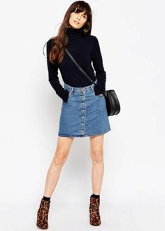 Юбки с пуговицами спереди очень эффектны. С чем носить и сочетать джинсовые юбки, с запахом, юбки-карандаш и трапеции? В чем особенности длинных моделей?