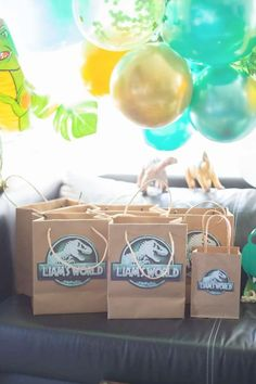 Check out this cool Jurassic Park dinosaur birthday party! The party favor bags are awesome! See more party ideas and share yours at CatchMyParty.com Boy Party Favors, Party Favor Bags, Baby Shower Favors, Dinosaur Birthday Party, Girl Birthday, Birthday Parties, Event Themes, Party Themes, Party Ideas