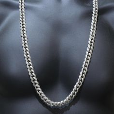 Icy White Simulated Diamond 32IN Men Epic Miami Cuban Link Chain Necklace Silver  - Thumbnail 3