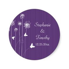 Plum purple butterfly floral wedding stickers