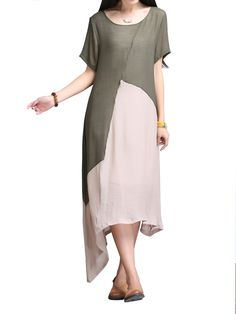 Sale 29% (18.69$) - Retro Women Contrast Color Stitching Irregular Cotton Linen Dress