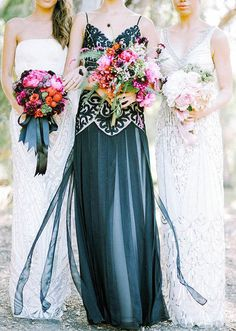 Sue Wong black wedding gown. The Wedding Scoop Spotlight: Coloured and Non-white Wedding Dresses