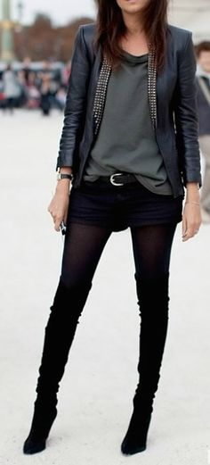 Make use of your shorts in the winter.  Pair them with tights or leggings and thigh high boots!