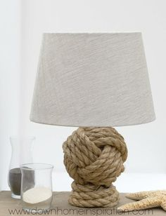A monkey's knot lamp base is a cute way to make a nautical statement in your home.