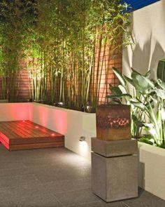 tiges de bambou, spots LED et clôture en bois