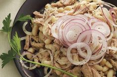 Tuna, White Bean, and Red Onion Salad - Cannellini Beans with Garlic and Sage