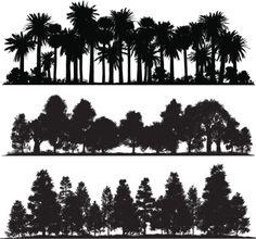 Vectores libres de derechos: Forest silhouettes